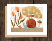 ON SALE Bookish Forest Snail Blank Note Card