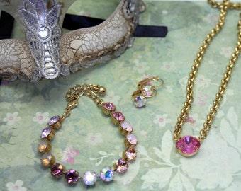 Spellbound Swarovski Elements Tennis Necklace Rhinestone 8mm Gold Pink Bracelet Earrings Set