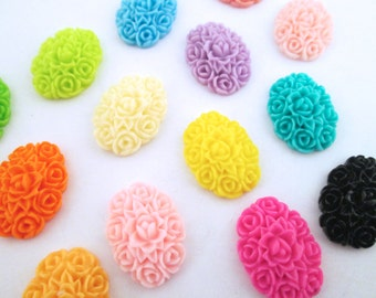 20 multicolor oval flower cluster cabochons 13x18mm