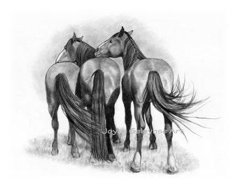 Three Horses Together, Equine Art, Western Art, Equestrian, Printable Art WHOA Team, INSTANT DOWNLOAD