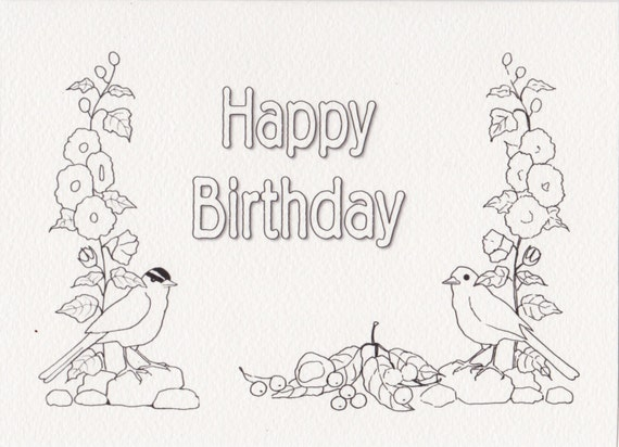 Items Similar To Card To Color, Adult Coloring Card, Happy