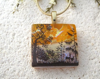 Deer Forest Necklace, Fused Glass Jewelry, Dichroic Glass Pendant, Glass Necklace, Deer Pendant, Gold Necklace, Dichroic Jewelry, 062415p121
