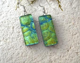 Dichroic Glass Earrings, Dichroic Earrings, Dangle Drop Earrings, Blue Green Earrings, Fused Glass Jewelry, Gold Filled Earrings  062515e100