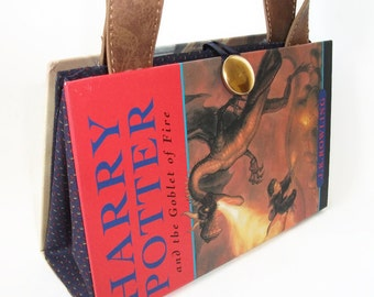 Harry Potter Goblet of Fire Book Purse, Handmade Book Clutch, Book Bag