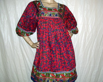 Batik Dress Puff Sleeve Christmas Dress Tunic Ethnic Hippie Gypsy Party Red Green Gold Vintage Thai Cotton Batik Day Dress Adult M L
