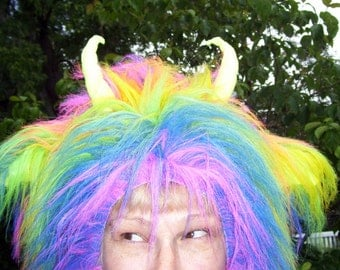 Rainbow Horn Hat Furry Super Long Hair Pride Adult Unisex Rainbow Horns Wild Monster Costume Hat Gay Pride Parade Wig
