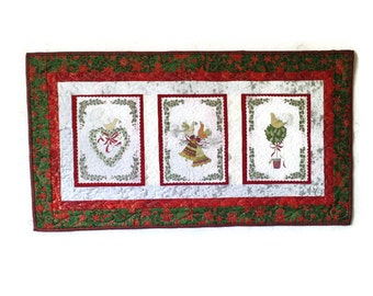 Patchwork, Quilted, Wall Hanging, Table Runner, Partridge Christmas