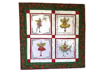 Patchwork and Quilted Wall Hanging, Christmas Fairies