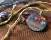 Bloom Enamel Pendant Hemp Necklace with Glass Beads - Floral, Hippie, Spring