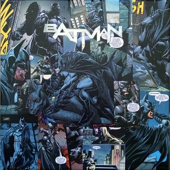 Batman (New 52) Decoupage Comic Collage Canvas