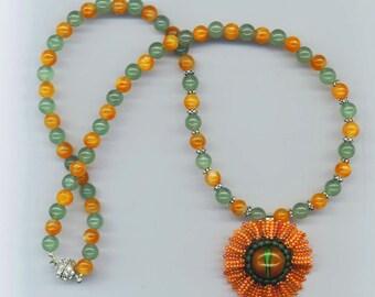 Beadwoven Necklace . Orange Flower Necklace . Evil Eye Pendant . Aventurine Statement Necklace - Floral Necklace by enchantedbeads on Etsy