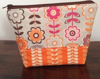 Zipper Pouch - Retro Orange & Pink Flowers