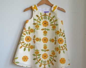 Modern Folk Baby or Toddler Girls Dress Sizes 6 - 12 Months | Gold, Mustard, Orange Floral Tole Scandinavian Folk Art Vintage Frock