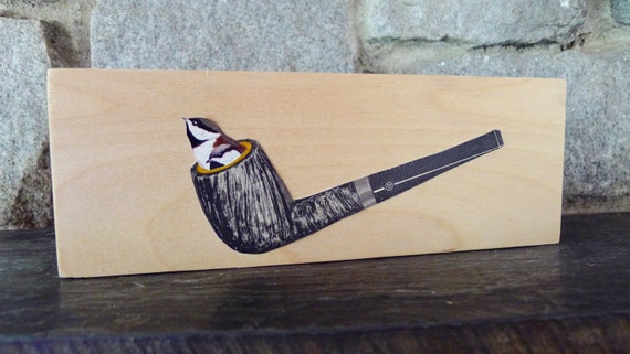 bird art, ready to hang! Magritte's chickadees. Original collage by Vivienne Strauss.