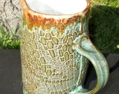 SALE Handbuilt Stoneware Pitcher or Sauce Boat - Gemstone Green/Oatmeal