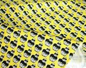 Japanese Fabric cupcakes twill - yellow - fat quarter