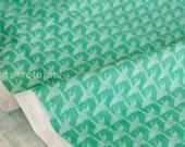 Japanese Fabric Kokka Ellen Baker - Monochrome - small cranes - teal - 50cm