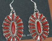 Sale: Sterling Silver and Red Coral Cluster Earrings