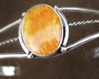 Sale: Orange Spiny Oyster Sterling Silver Cuff Bracelet