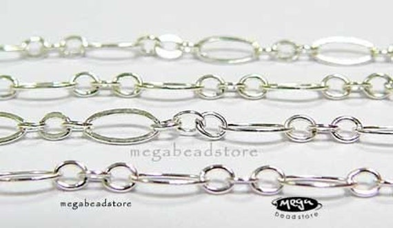 10 ft Oval and Short Sterling Silver Cable Loose Chain 4mm x 2mm CH11