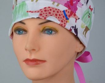 Scrub Hats // Scrub Caps // Scrub Hats for Women // The Hat Cottage // The Mini // Ribbon Ties // Puppy Love