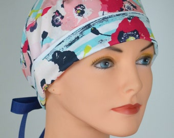 Surgical Scrub Hat or Chemo Cap- The Mini with Ribbon Ties- Pastel Poppies