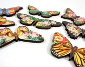 Flower Butterflies - Collection of 8 Wood Cut Flying Embellishments