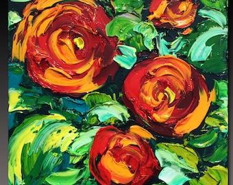 B. Sasik Original Oil Painting  Garden ART ROSES Painting