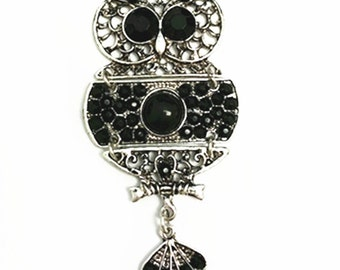 1pc  38.50x88mm antique silver finish owl pendant-10025