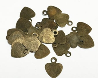 100pc 10x8mm antique bronze finish heart shape charms-10029