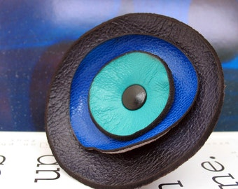 Blue Tone Leather Flower Ring, You Choose the Size, Eco-Friendly Leather, OOAK