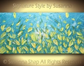 ORIGINAL Blue Yellow Tulips Painting Landscape Oil Painting Large Abstract Art Home Decor Impasto Flowers Modern Palette Knife Painting