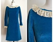 1960s velvety blue LACE COLLAR wednesday addams dress (s)