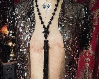 Opium Den Victorian Jet Tassel Lavalier Necklace by Louise Black