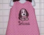 Pink with Brown Dot Plaid Puppy Dog Applique Monogram A-line Dress - birthday party dress - school dress - pre-k dresss