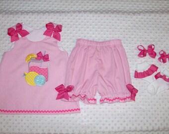 Lemonade Jar Applique Monogram Pink Gingham A-Line Top or Dress with Bloomers Set birthday party- pageant - pink lemonade dress - Mason Jar