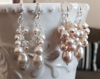 Bridal Earrings, Ivory Pearls, Cluster Wedding Earrings, Teardrop Pearls, Elegant, Bridesmaids, Swarovski Crystal, Dangle, Wedding Jewelry
