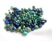 Destash Bead Lot . Blue Lapis and Turquoise Mix Gemstone Beads . Designer Assortment Bead Destash