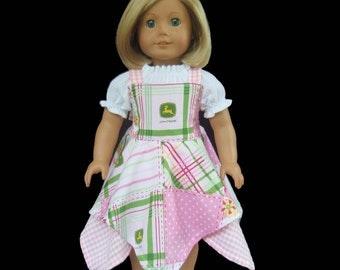 "18"" Girl Doll Handkerchief Hem Dress Peasant Top Farm Country"