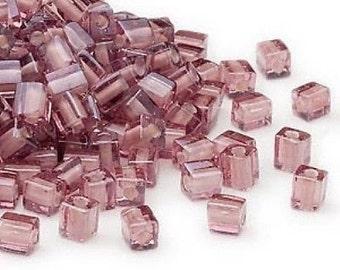 Square PINK and WHITE seed beads (100) Miyuki Shoji 4MM