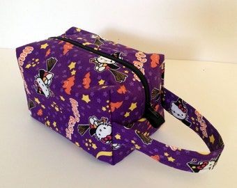MOVING SALE - Kitty Halloween Witch Zipper Box Knitting Project Bag