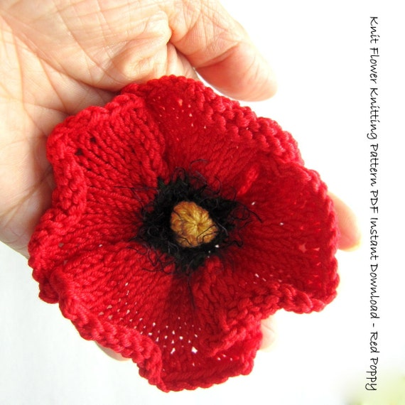 Easy Knitting Patterns For Baby Booties : Knit Flower Instant Download PDF Pattern Poppy Flower