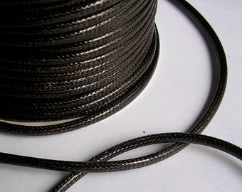 3mm Waxed Polyester Cord (C74) 3 Yards Dark Brown Thick Leather Like Cord for Jewelry Making Bracelets Shipping from USA