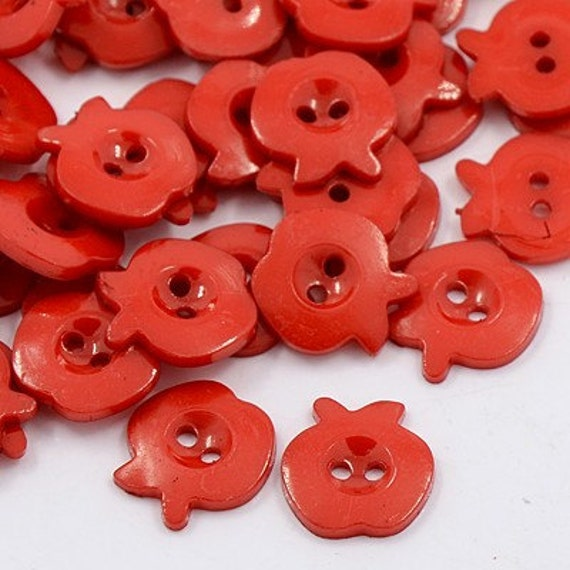 Red apple novelty buttons sale b101 10 red apple large for Craft buttons for sale