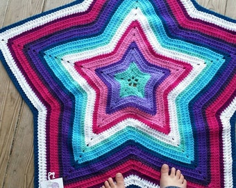 Crocheted Afghan Star Blanket - Ripple Blanket for Toddlers, Shooting Star, Pink and Aqua Striped Lovey