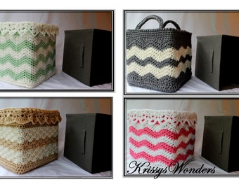 Crochet Basket Pattern - Square Basket Pattern - Drop Over Lace - Storage Box Cover 4 Designs - Baby Shower Gift - Ebook