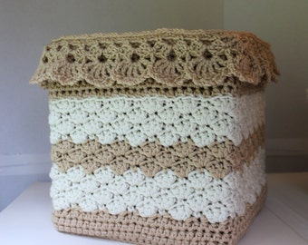 Lace Crochet Pattern - Easy Crochet Basket Pattern  - Square Crochet Basket - Crochet Storage Cover Pattern -  No. 99
