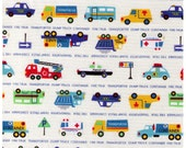 HALF YARD - Transportation and Text on White - Truck, Bus, Dump Truck, Cement, Ambulance, Traffic, Car, Stop and Street Signs - Japanese