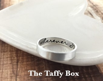 Hand Stamped Poesy Ring - Inside and Out