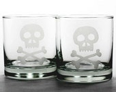 2 Jolly Roger Skull - Etched Lowball Glasses